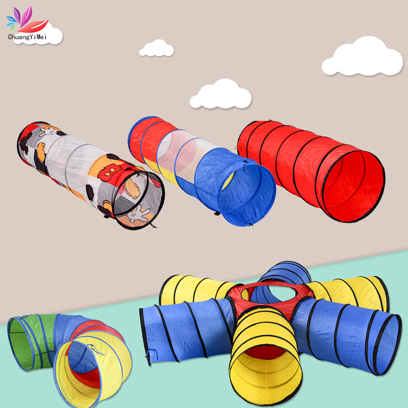 Portable Kids Tents Rainbow Tunnel Toy Folding Children Crawling Game Tube Kids Indoor Outdoor Play House Tunnel Crawling Toys