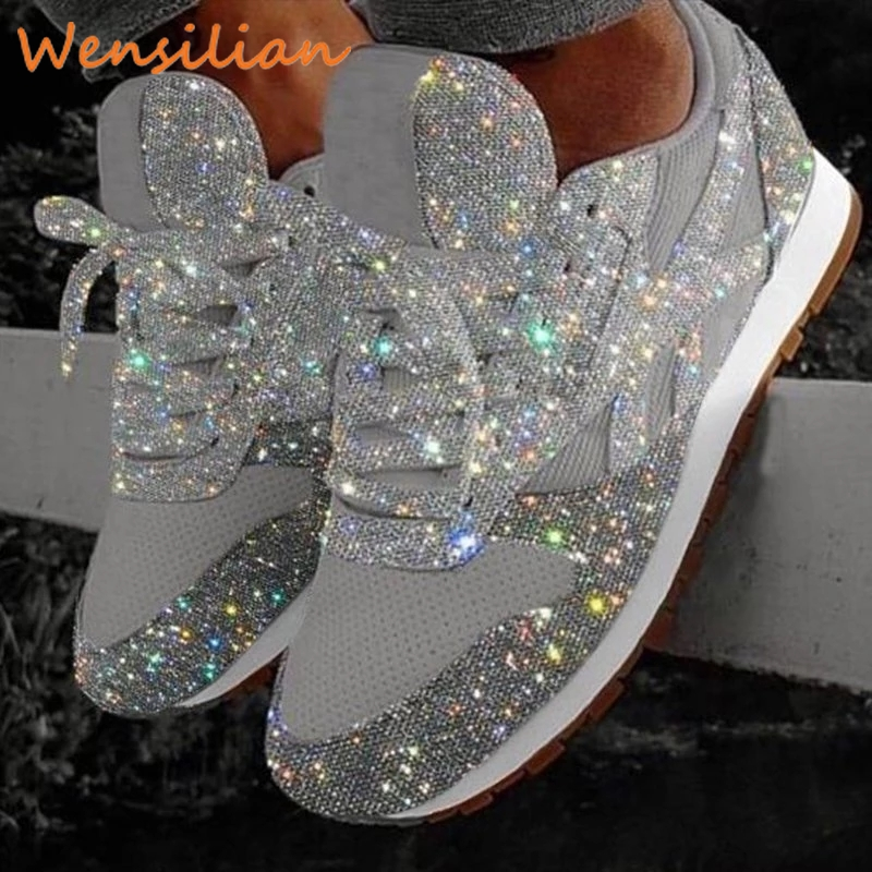 Women Bling Sneakers Flat Ladies Vulcanized Trainers 2019 Autumn Casual Breathable Lace Up Sequin Outdoor Sport Running Shoes
