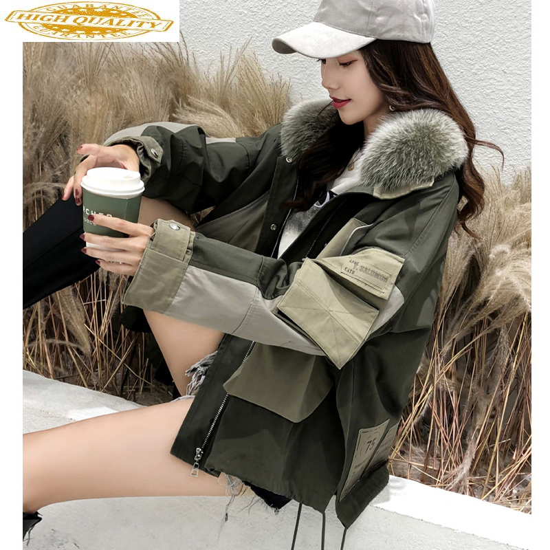 Parka Real Fur Coat Autumn Winter Jacket Women Fox Fur Collar Down Jacket Women Clothes 2019 Warm Oversized Jackets MY