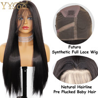 YYsoo Long Straight Full Lace Wigs For Women Black Glueless Heat Resistant Fiber Hair Synthetic Wig Full Hand Tied with BabyHair