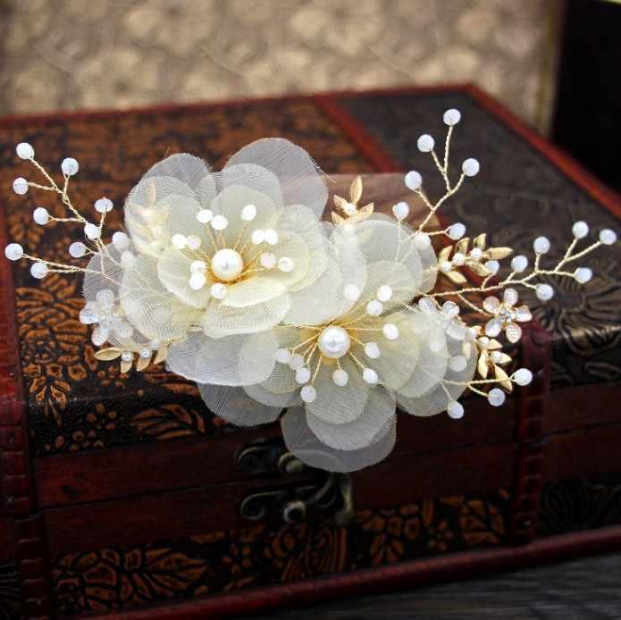 Szampański kwiat kwiatowy spinki do włosów złoty kawałek głowy dżetów spinki do włosów klipsy dla kobiet dziewczyna akcesoria ślubne biżuteria dla nowożeńców