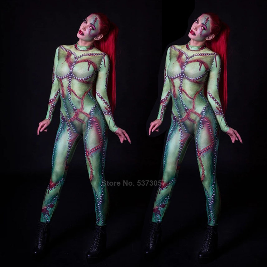 3D Printing <font><b>Women</b></font> <font><b>Halloween</b></font> Cospaly Costumes Female Zombie Ghost Carnival Party Role-play <font><b>Sexy</b></font> Tight Scary Jumpsuit Bodysuit image