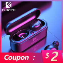 FLOVEME Mini TWS Wireless Headphones Bluetooth 5.0 Earphone Sport Earphones Headset 3D Stereo Sound Earbuds Micro Charging Box