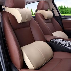 Image 2 - 1PCS PU Leder Auto Auto Hals Kissen Memory Foam Kissen Neck RestFor Stühle in die Auto Sitz Kissen Hause büro Entlasten Schmerzen