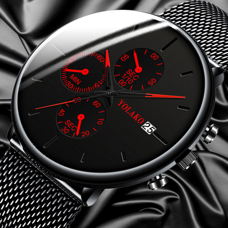 Men's Fashion Watch Stainless Steel Mesh Belt Calendar Quartz Sport Watches Business Casual Watch for Man Clock Montre Homme(China)