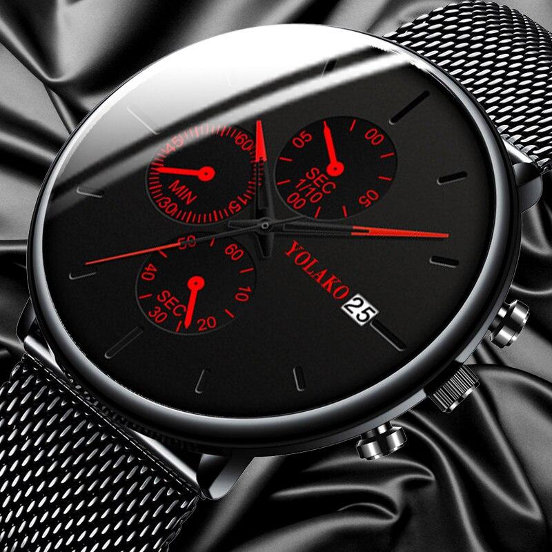 Montres mode pour Homme en acier inoxydable maille ceinture calendrier Quartz Sport montres Montre professionnelle décontractée pour Homme horloge Montre Homme
