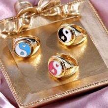 Apenas sentir vitrificado ouro prata cor yin e yang anéis para mulheres coreano bonito daisy anel personalidade moda jóias atacado