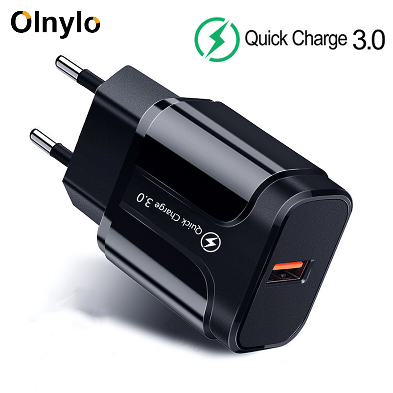 3A Quick Charge 3.0 USB Charger EU/US Wall Mobile Phone Charger Adapter For IPhone XR 11 Fast Charging For Xiaomi Mi Note 10 Pro