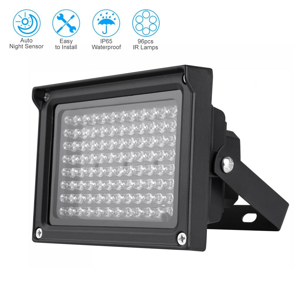 96 светодиодов ИК-осветитель Массив Инфракрасных ламп ночного видения Открытый водонепроницаемый CCTV заполняющий светильник для камеры вид...