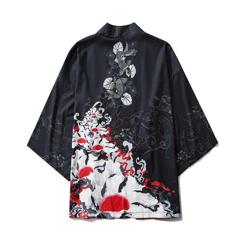 Japanese Style Casual Kimono Streetwear Men Women Fashion Cardigan Japan Harajuku Anime Thin Robe Clothes