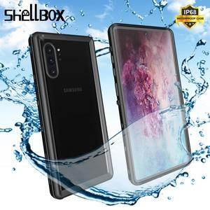 Image 1 - SHELLBOX Custodia Impermeabile Per Samsung Galaxy Note10 Più S10 Antiurto Caso Della Copertura Trasparente Per Samsung Note 10 Pro Cassa Del Telefono coque