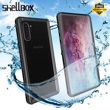 SHELLBOX wodoodporne etui do Samsung Galaxy przypadku Note10 Plus S10, odporna na wstrząsy obudowa przezroczysta pokrywa dla Samsung Note 10 Pro etui na telefon coque