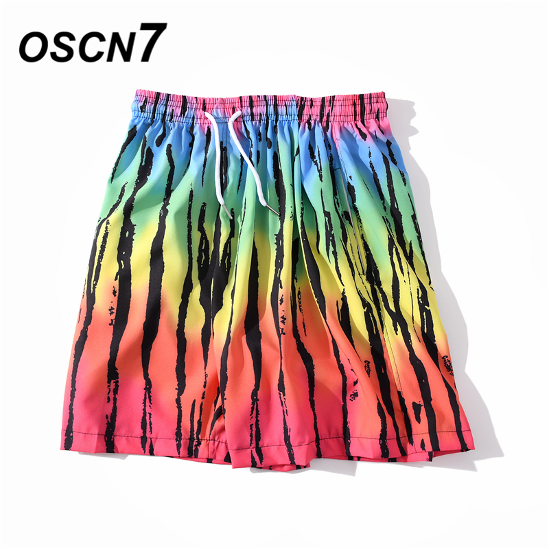 OSCN7 Casual Streetwear Hawaii Print Oversize Beach Board Shorts Men 2020 Summer High Street Bermuda Short Pants Women BM43
