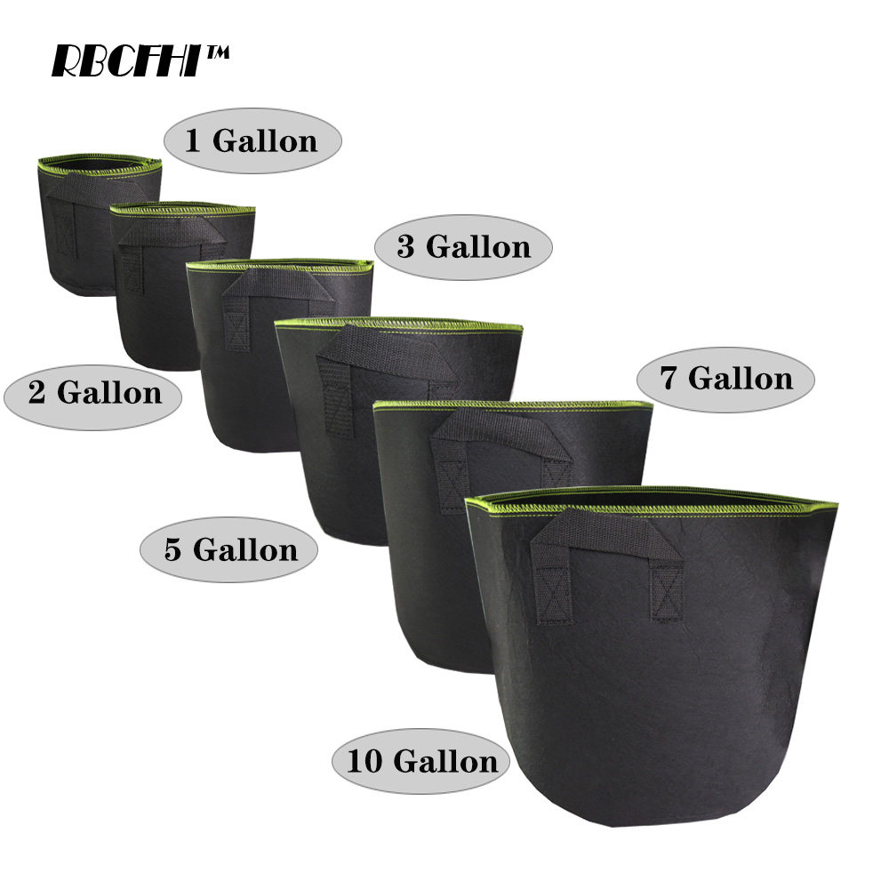 RBCFHI 10PCS Greenside Black Fabric Pot Plant Pouch Root Container Planting Pot Container Gardening Plant Pouch With Handle title=