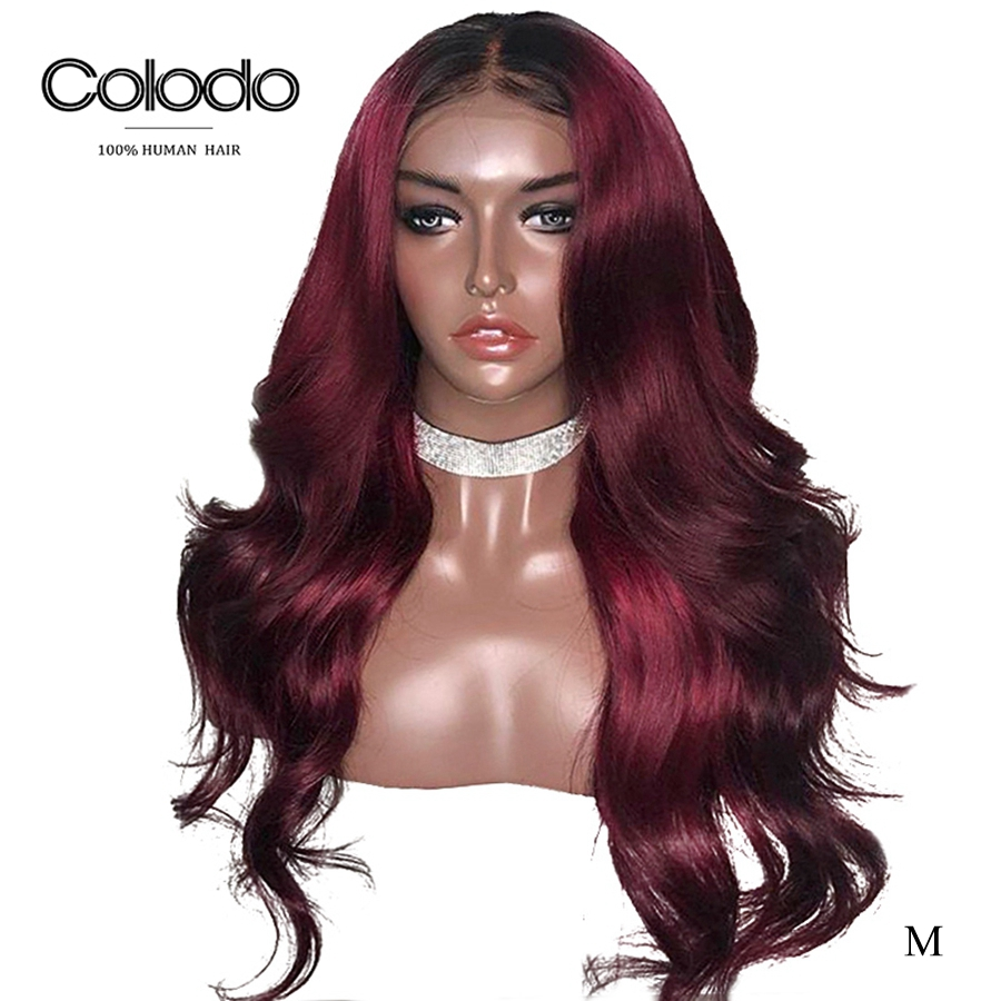 COLODO 13x4 Burgundy Lace Front Wig Remy Brazilian Ombre Human Hair Loose Wave Wig Preplucked 150% Density Wigs Middle Ratio
