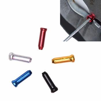 12 sztuk stopu Aluminium Metal rower przewód hamulcowy drut zaślepki biegów kabel drutu zewnętrzna pokrywa Crimps porady okucia tanie i dobre opinie GUOMUZI CN (pochodzenie) Aluminium Alloy Bicycle Brake Gear Cable Wire End Caps