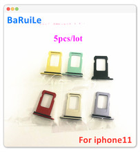 BaRuiLe 5pcs SIM Card Tray for iphone 11 Pro Max 11P 11M Single Replacement Part SIM Card Holder