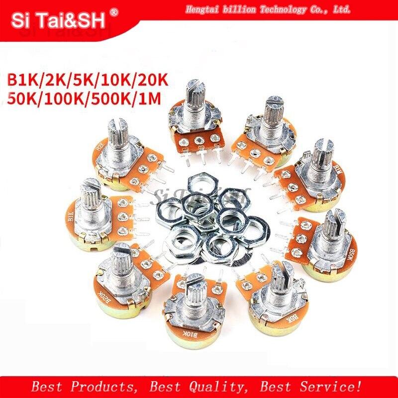 5pcs WH148 B1K B2K B5K B10K B20K B50K B100K B250K B500K B1M 3pin 15mm 1K 2K 5K 10K 20K 50K 100K 250K 500K 1M