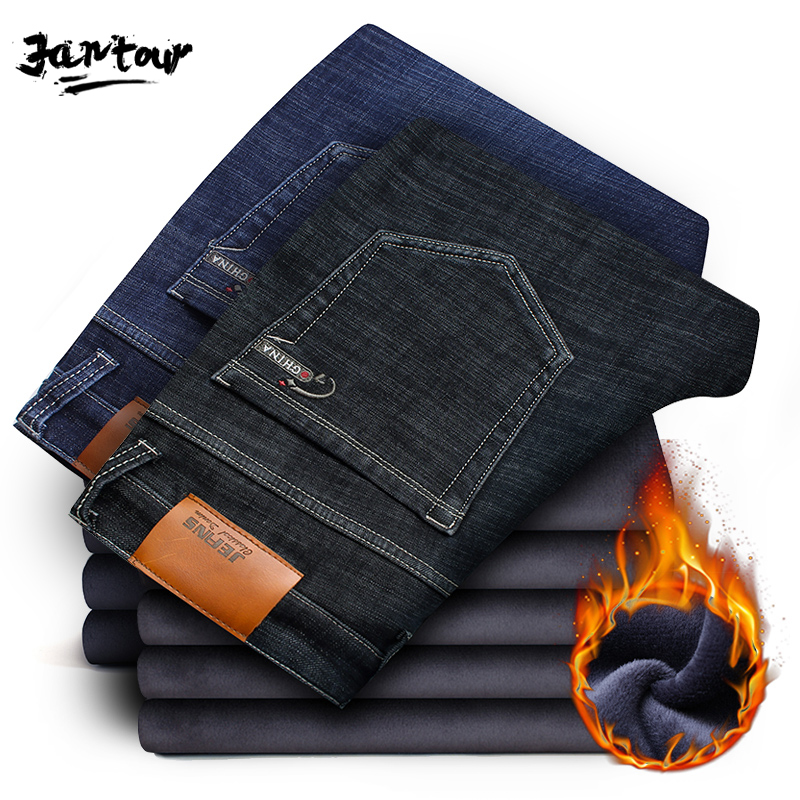 2019 New Winter Men's Warm Fleece Jeans Men Stretch Casual Straight Thick Denim Flannel Jean Soft Black Brand Pant Trousers Male