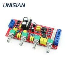 UNISIAN  NE5532 OP AMP HIFI Preamplifier  Bass Treble Balance Volume Tone EQ Control Board For Amplifiers  DIY KIT Dual AC12V