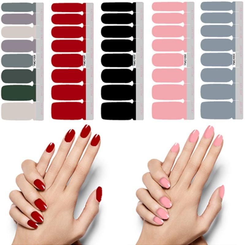 16 наконечников/лист, самоклеящиеся наклейки для дизайна ногтей, однотонные блестящие наклейки для ногтей