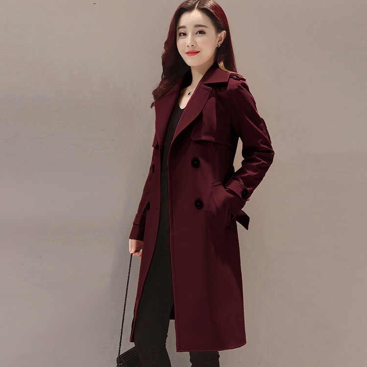 Casaco Feminino señoras Trench Coat Mujer de talla grande Abrigo Mujer Abrigo Trench para Mujer Abrigo largo ajustado doble pecho dj121