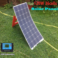 120W 36 Cells 18V Flexible Solar Panel with 20A Solar Controller for 12V Battery Charging RV Boat Caravan