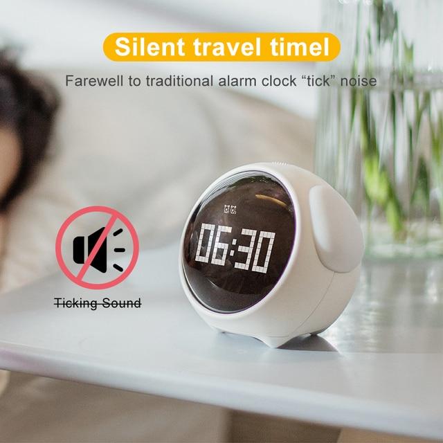 Cute Night Light Alarm Clock LED Smart Kids Digital Clock Home Decor For Children Room Sleep Trainer Lamp Clocks Kids Xmas Gift 3