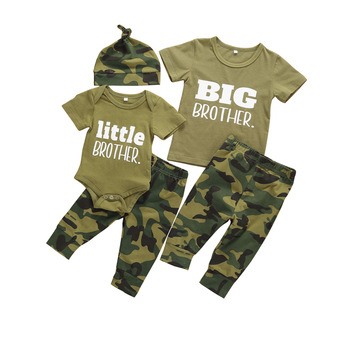 Pudcoco US Stock Infant Baby Boys Clothes Sets Brother Short Sleeve Romper Top+Pants Hats 3Pcs Boy Girl Summer Clothes Outfit 1