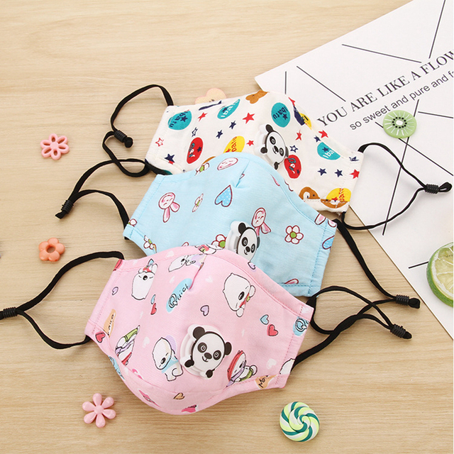 Lovely Kids Children Anti Haze Dust Mask PM2.5 Washable Muffle Bacteria Flu Nose Filter Face Respirator With Valve