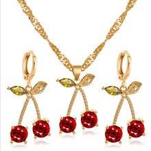 Комплект украшений ywzixln кулон и серьги золотого цвета с красными