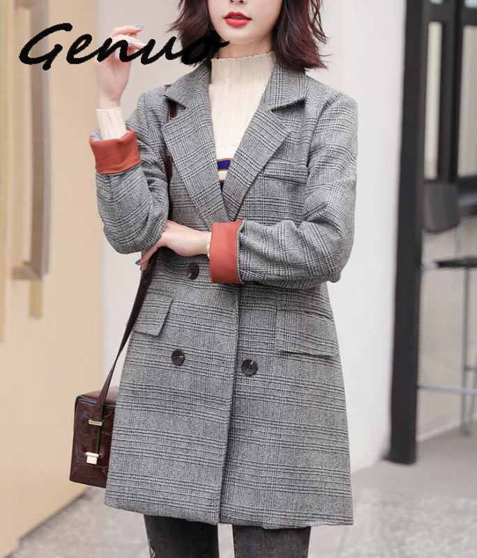 2019 New Women Coat Suit Retro Casual Long Paragraph Lattice Slim Small Suit Jacket Temperament Print Long Sleeve Coat Women