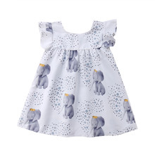 Baby Girls Dress New Toddler Girl Elephant Ruffle Dress Fly Sleeve Party Dresses Clothes Sundress neat wholesale new baby girl clothes college style lovely girls dresses kids clothes long sleeve dress cartoon elephant sg006