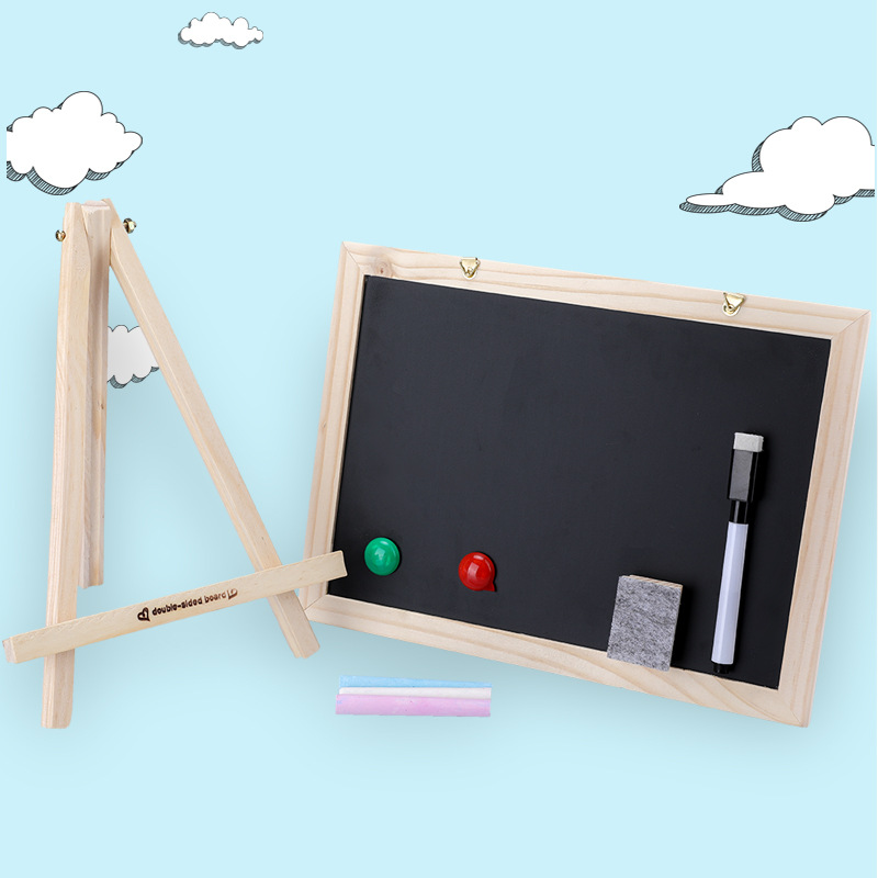 [Cloud Commercial Union] Home Teaching Children Single-side Blackboard Writing Board Wooden Drawing Board-Wipe Chalk