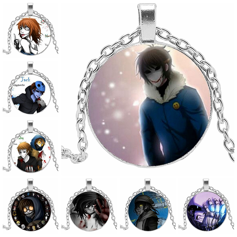 2019 New Hot Cartoon Biochemical Dynamic Pattern Glass Convex Round Fashion Necklace Popular Pendant Jewelry Gift in Pendant Necklaces from Jewelry Accessories