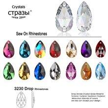 6a strass de cristal para artesanato, pedras de costura brilhantes, gotas de lágrima, strass para artesanato, decoração de vestimentas