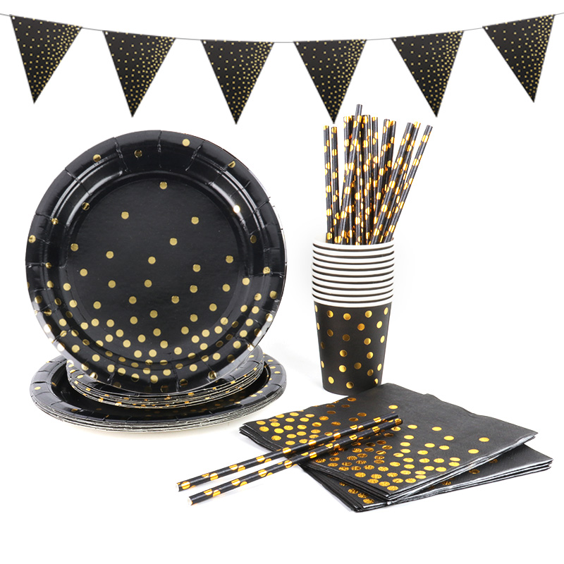 Black gold themed party Birthday party decorations or Baby shower Dinnerware cups plates napkins and tablecloth nice pull flags
