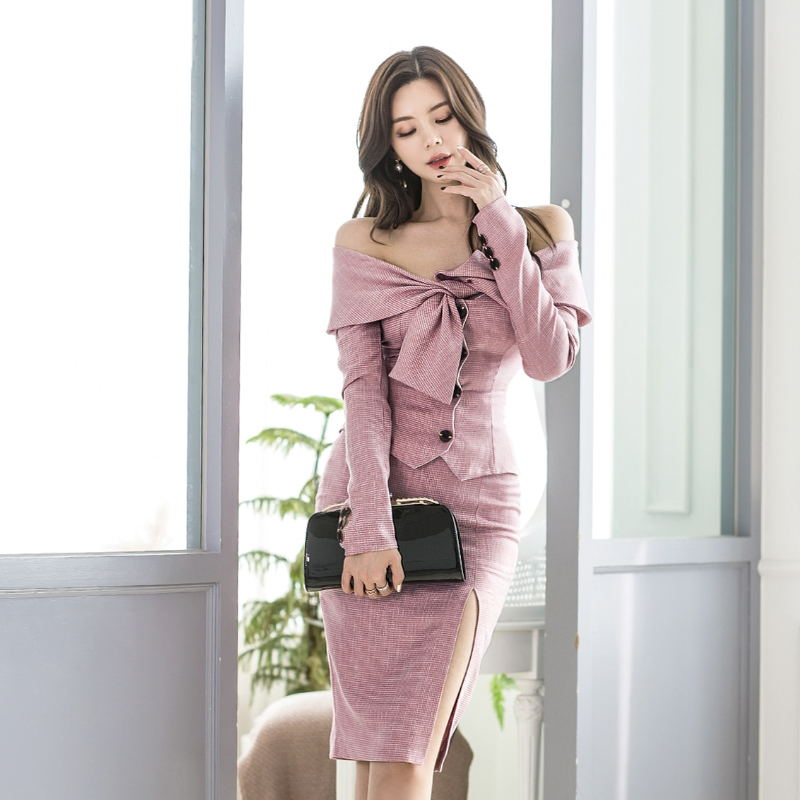 Spring Elegant Korean Style Two Pieces Set Women Elegant Strapless Tops And Sexy Pencil Skirt Suit OL Office Lady Pink Suit