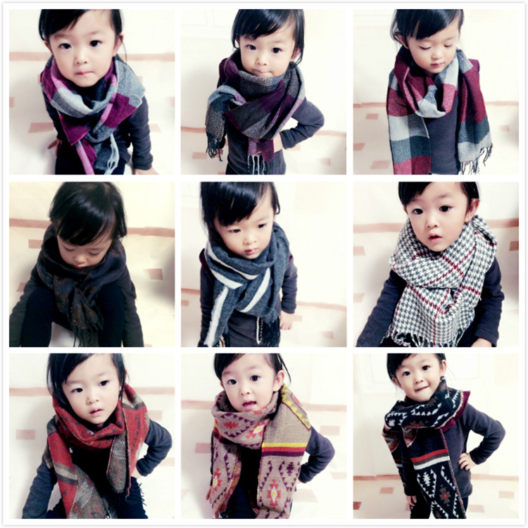 Autumn And Winter Children Plaid Scarf Women's BOY'S Faux Cashmere Ethnic-Style Big Boy Scarf Baby Korean-style Parent And Child