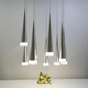 Image 3 - الحديثة led مخروطي قلادة ضوء الألومنيوم معدن المنزل الإضاءة الصناعية مصباح معلق الطعام غرفة المعيشة مقهى droتحكم تركيبات