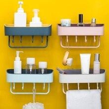 цена на Wall Mounted Adhesive Corner Storage Rack Organizer Shelf Multi-functional Bathroom Shelf Toilet Wall Hanging Holder