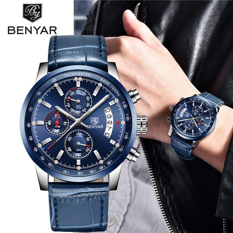 2019 New BENYAR Top Luxury Brand Men Fashion Blue Watch Men's Business Quartz Chronograph Leather Wristwatch Relogio Masculino