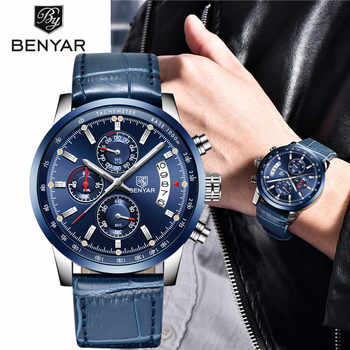 2019 New BENYAR Top Luxury Brand Men Fashion Blue Watch Men\'s Business Quartz Chronograph Leather Wristwatch Relogio Masculino - DISCOUNT ITEM  54 OFF Watches