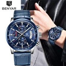 2019 新 benyar トップ高級ブランド男性ファッションブルー腕時計メンズビジネスクォーツクロノグラフ革腕時計レロジオ masculino