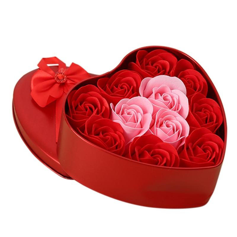 11Pcs/Box Artificial Flowers Rose Soap Flower Heart Shape Diy Wedding Decoration For Souvenir Valentines Day Gifts Flore