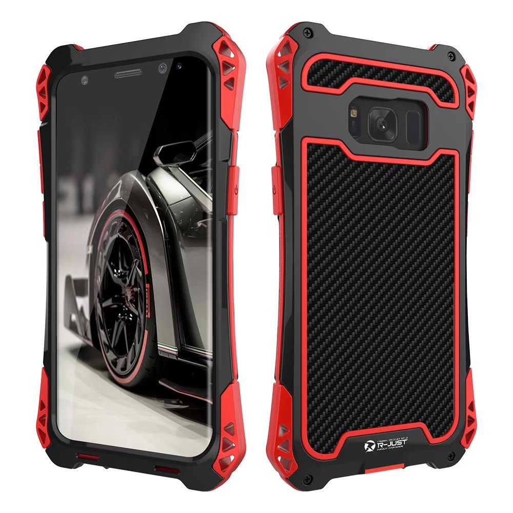 Case For Samsung 10 S9 S8 Plus Case Armor King Aluminum Carbon Fiber Shockproof Cover For Galaxy Note 10 9 8 Coque & Box