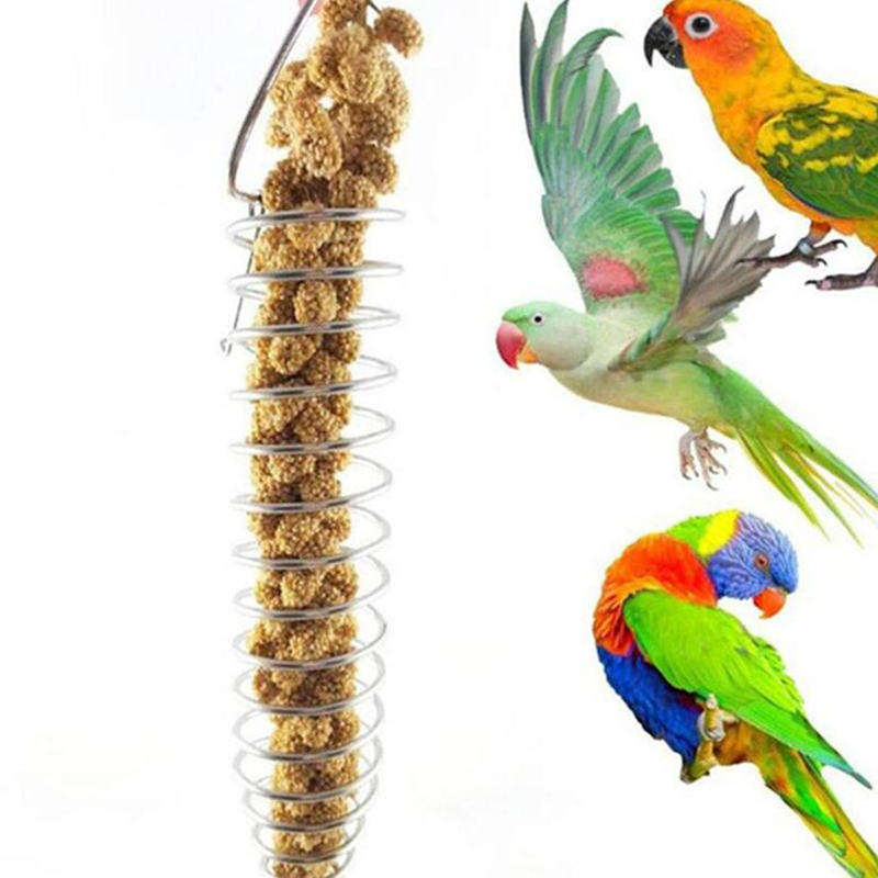 Stainless Steel Parrot Bird Food Basket Foraging Toy For Earhead Fruits Vegetables