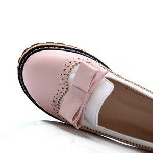 Image 5 - Женские туфли на плоской подошве ESVEVA, туфли из мягкой искусственной кожи с круглым носком, на шнуровке, в стиле пэчворк, размеры 34 43, для весны и осени, 2020