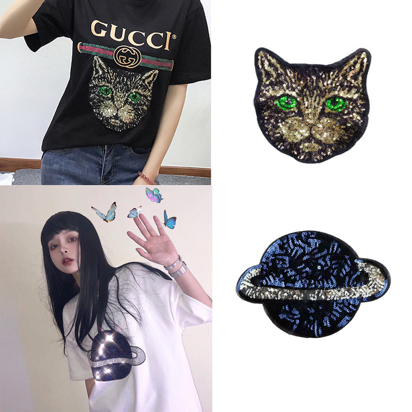 Clothing Accessories Embroidery Applique Lace Sequins Cat Demon Animal Cat DIY Cloth Explosions Tide