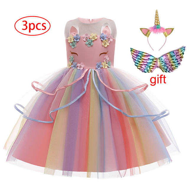 Girl's Unicorn Dress with Headband and Wings 3 Pcs Set 1